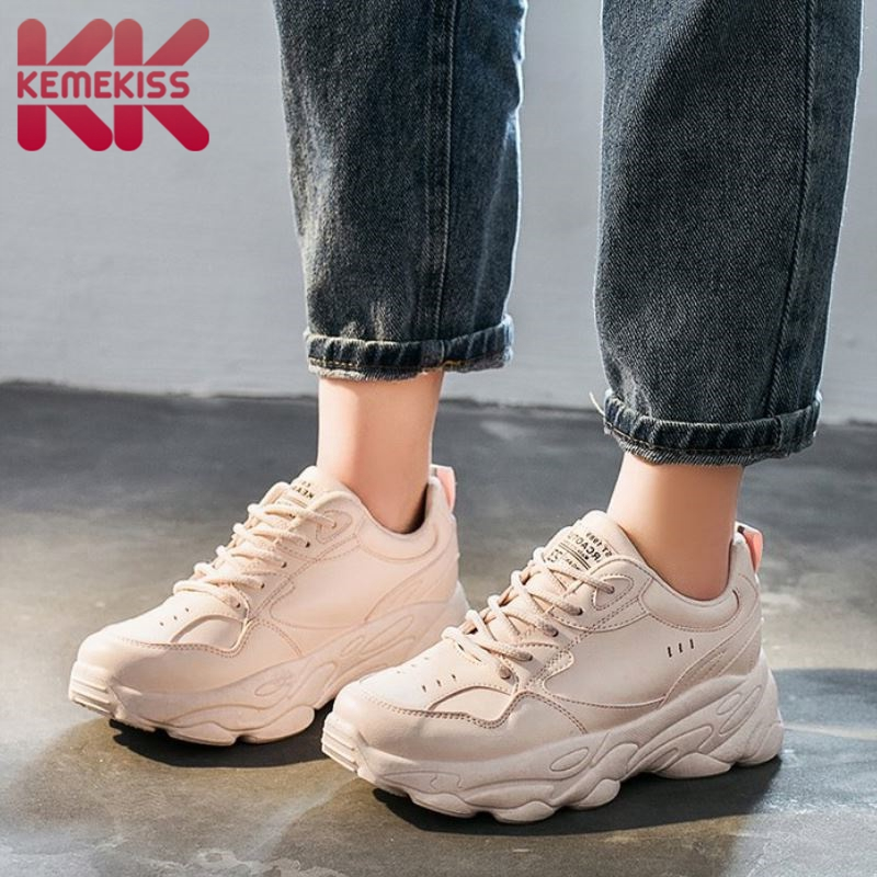 KemeKiss Sneakers Casual Vulcanized Shoes Thick Sole Round Toe Shoes Woman Fashion Outdoor Shoes Footwear Size 35-40