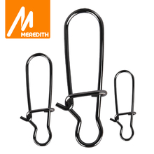 MEREDITH 50pcs Stainless Steel Hook Fast Clip Lock Snap Swivel Solid Rings Safety Snaps Fishing Hook Connector