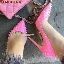 ALMUDENA Clear Crystal Color Rivets High Heel Shoes 12cm Sti