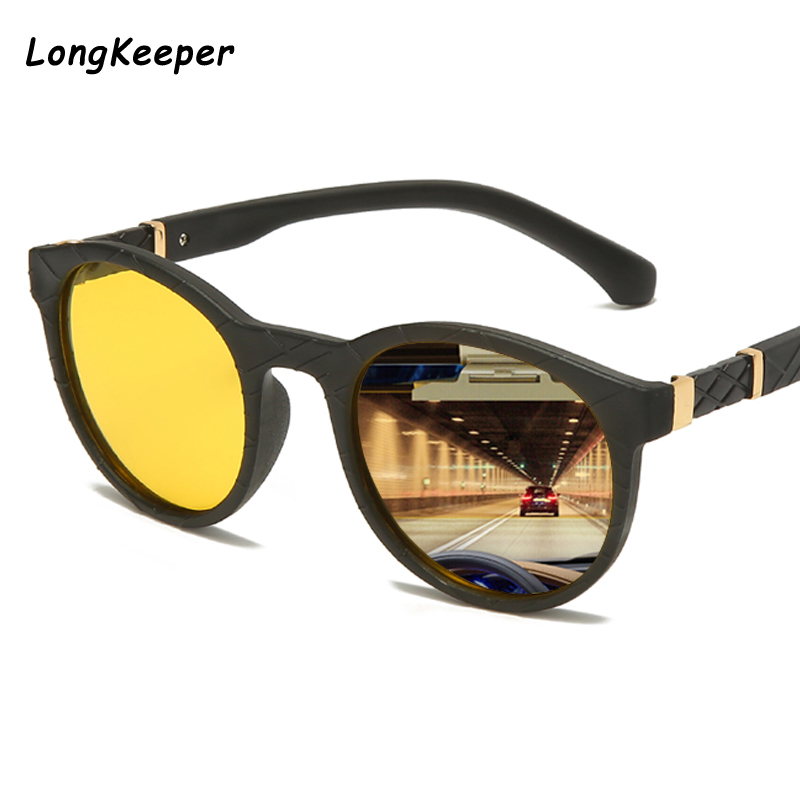 LongKeeper Round Black Sunglasses Polarized Sunglasses Men Women Yellow Lens Night Vision Driving Sun Glasses Gafas De Sol