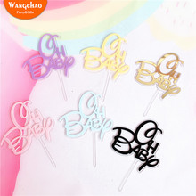 5pcs/Set Double Layers Oh Baby Acrylic Happy Birthday Cake Topper Shower Party Supplies Decorating