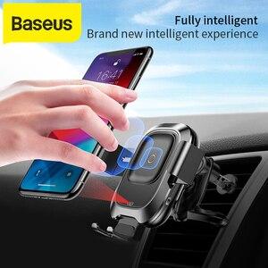 Image 1 - Baseus אלחוטי לרכב מטען עבור iPhone Xs Max Xr X סמסונג S10 S9 אנדרואיד טלפון מטען מהיר Wirless טעינה לרכב טלפון בעל