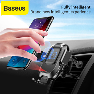 Image 1 - Baseusワイヤレス車の充電器iphone xs最大xr × 三星S10 S9 android携帯充電器高速wirless充電車電話ホルダー