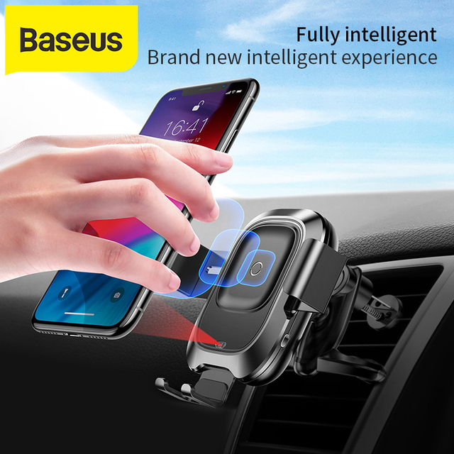 Baseusワイヤレス車の充電器iphone xs最大xr × 三星S10 S9 android携帯充電器高速wirless充電車電話ホルダー