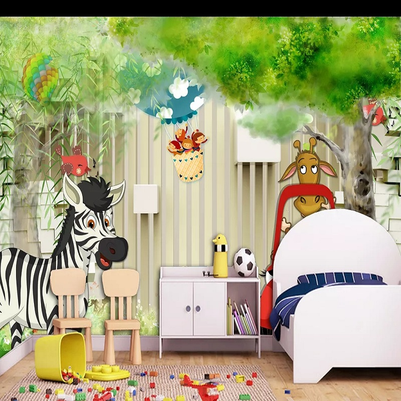 Custom Large Mural 3D Wallpaper Fairy Tale World Cartoon Animals Child Tree Bedroom Mural TV Back Wall Decor Deep 5D Embossed