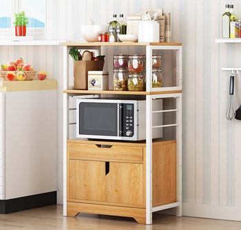 2/3 Layer kitchen Cabinet with Drawer Door for Microwave Oven Kitchenware Storage Organize Cupboard Kitchen Shelf Rack induction cooktop stainless steel kitchen rack floor multi layer storage rack microwave oven kitchenware storage shelf