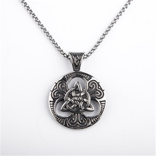 Double knot round necklace pendant restoring ancient ways Titanium steel creative Personality couples Male fashion jewelry