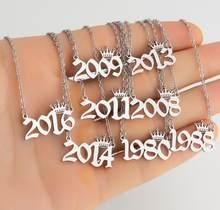 Aço inoxidável número do ano colares para mulher rainha design aniversário tiaras coroa ano 1994 1996 1998 2002 gargantilha crianças presente
