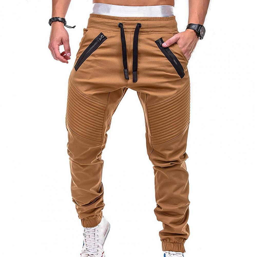 Men Fashion Drawstring Zip Strips Pockets Ankle Tied Long Pants Sports Trousers Cylinder Active Pants Gym Workout Jogging