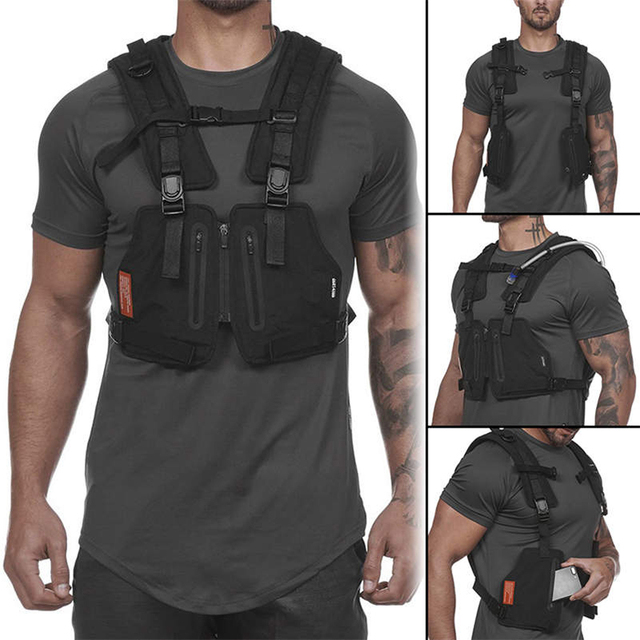 Function Military Tactical Chest bag Vest Outdoor Hip hop Sports Fitness Men Protective Reflective Top Vest Cycling Fishing Vest