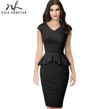 Güzel sonsuza kadar zarif düz renk ofis çalışma vestidos iş resmi parti kadın Peplum Bodycon elbise B580