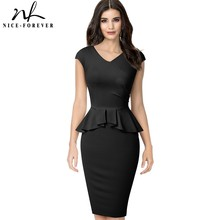 Nice forever Elegant Solid Color Office Work vestidos Business Formal Party Women Peplum Bodycon Dress B580