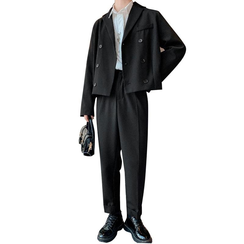 Men 2 PCS Suits Sets Double Breasted Blazer Coat Trousers Male Vintage Fashion Streetwear Casual Short Suit Jacket Pant