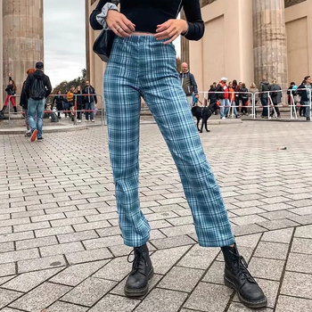 Women 90s Vintage Retro Plaid Tilden Pants Harajuku Fashion Straight Pant Women Trousers Streetwear BM Girls Checkered Sweatpant