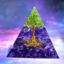Handmade Tree of Life Orgone Pyramid 60mm Peridot With AMETHYST  Crystal stone, Orgone Accumulator, EMF Orgonite Energy Chakra