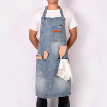 WEEYI Vintage Blue Kitchen Denim Aprons For Men Women Unisex Homewear Workwear Apron For Cooking Chef Barista Bartender delantal