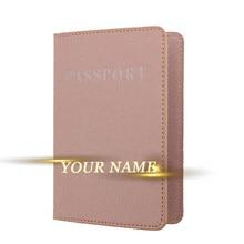 Capa de passaporte de couro fosco gravado capa de passaporte de viagem de couro personalizado titular do cartão carteira banco & cartão de identificação caso