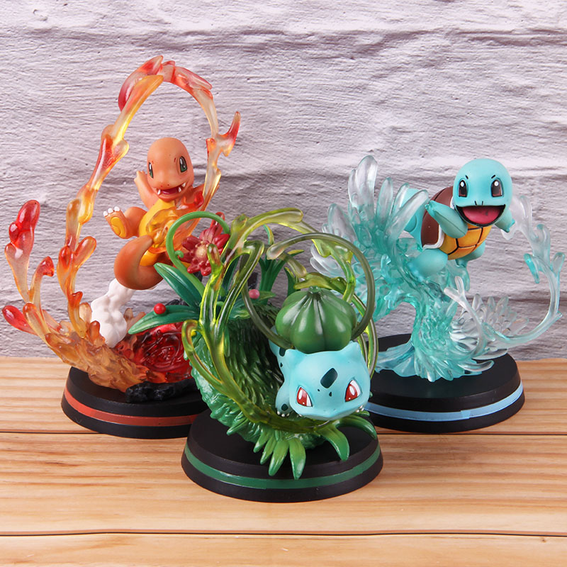 3pcs Color Scenes Action Anime Figure Jenny Turtle Squirtle Bulbasaur Charmander Fire Dragon Children Animal Figures Doll Toys image