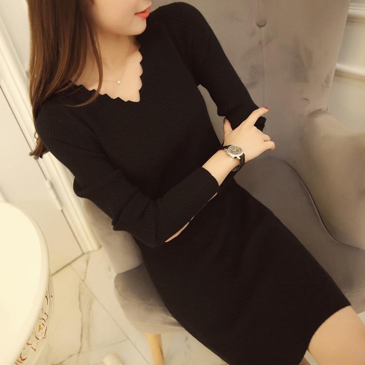 Large Size WOMEN'S Dress Autumn New Style Fat MM200 Jin Elasticity Mid-length Slim Fit Slimming V-neck Base Shirt