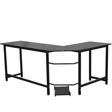 L-Shaped Desktop Computer Desk Black Laptop Study Table Office Table Workstation