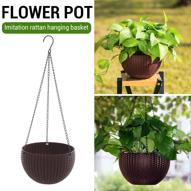 Imitation Rattan Weaving Convenient Creative Flower Pot Bonsai Basket Garden Chain Hanging Pot Planters Basket Office Home Decor