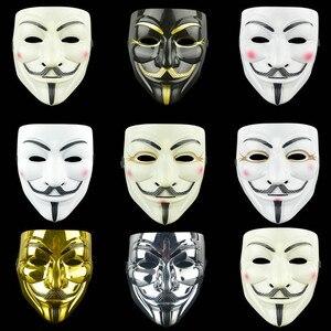 Image 1 - Anoniem Maskers Kostuums Vendetta Gezicht Fancy Party Cosplay Stijl Goud Volwassen Fawkes Levert Zilver Geel Guy Wit Halloween