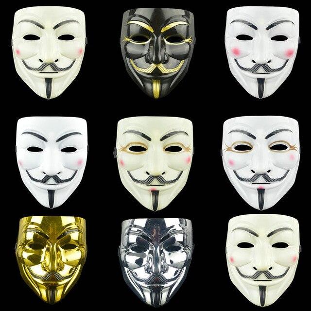 Anoniem Maskers Kostuums Vendetta Gezicht Fancy Party Cosplay Stijl Goud Volwassen Fawkes Levert Zilver Geel Guy Wit Halloween