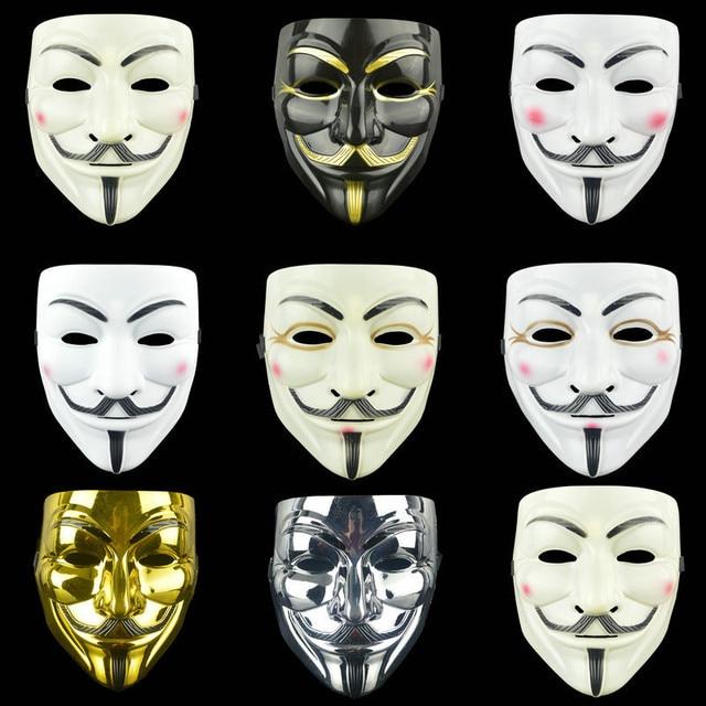 Анонимные костюмы с масками Vendetta Face косплей для модной вечеринки, Стильные Золотые товары для взрослых, цвета: серебристый, желтый, белый, Хэллоуин