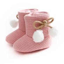 Теплые детские зимние ботинки; обувь для девочек с мягкой подошвой; обувь для малышей с мягкими помпонами; хлопковые ботинки на плоской подошве; вязаная однотонная обувь для малышей; обувь для мальчиков и девочек