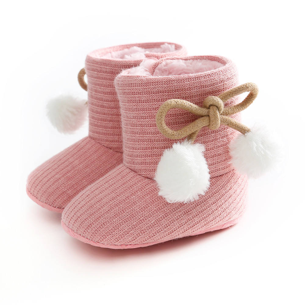 Warm Baby Winter Boots Girls Soft Sole Crib Shoes Soft Ball Cotton Flats Boot Shoes Knitted Solid Toddler Shoes For Boys Grils