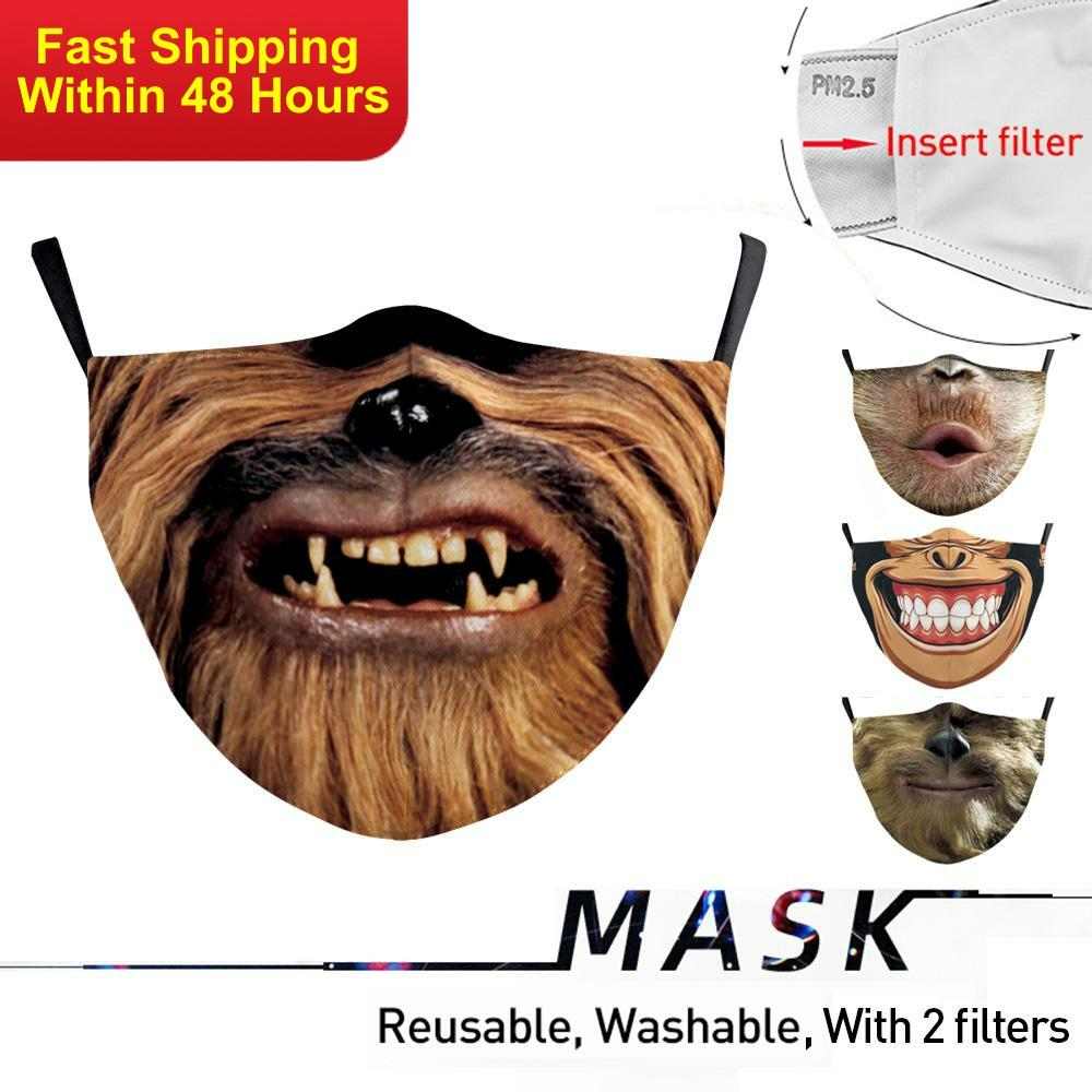 Zawaland Adult Funny Apes Masks Washable Big Mouth Series Face Mask Dust-proof Cosplay Party Mask With 2 Filters