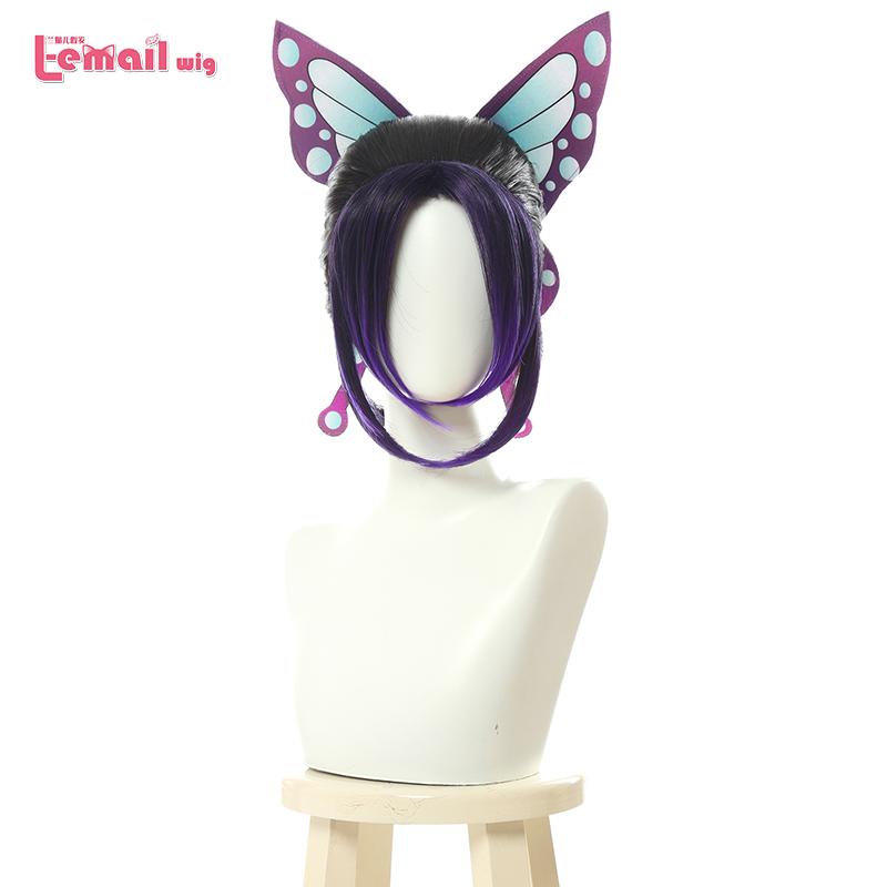 L-email wig Demon Slayer Shinobu Kochou Cosplay Wigs Kimetsu no Yaiba Cosplay Purple Gradient Wig Heat Resistant Synthetic Hair