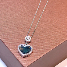 Whole Real 925 Sterling Silver Delicate Sapphire Pendant Necklaces Lasting Shine Cube Heart Modeling Good-looking Snake Chain exquisite real 925 sterling silver charming bee pendant necklaces lasting shine cross chain and zirconia good looking daisy
