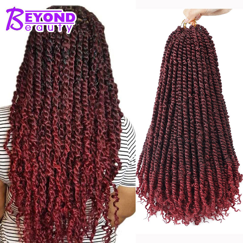18inch Long Pretwisted Passion Twist Crochet Hair Synthetic Pre Looped Crochet Braidings Hair Extension Ombre Braids 100g/pack