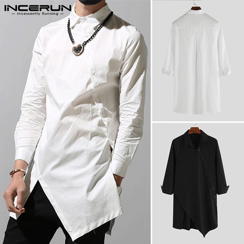 2020 Men Turn Down Collar Long Irregular Tops Casual Long Sleeve Shirts Designed Single-breasted Black Coat Solid Color INCERUN