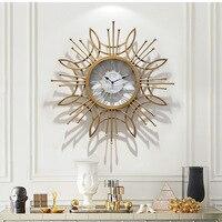 Large Metal Wall Clock Modern Design for Living Room Oversize Handwork Iron Hanging Clocks Wall Watch Home Decor Silent 80cm