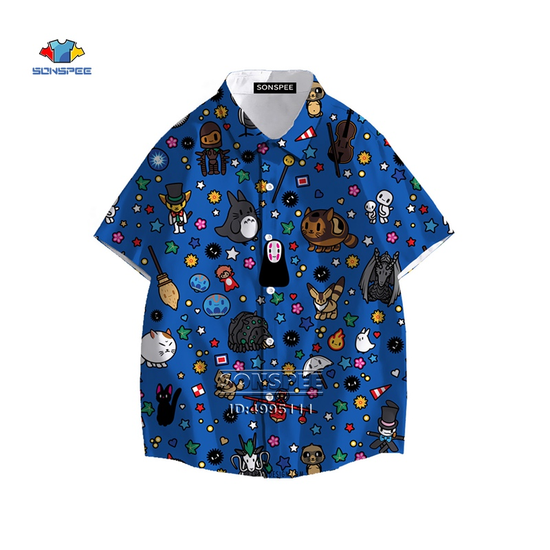 New Miyazaki Hayao My Neighbor Totoro Men's Shirt Spirited Away Hawaiian Shirt 3D Print Summer Casual Beach Shirts Short Sleeve