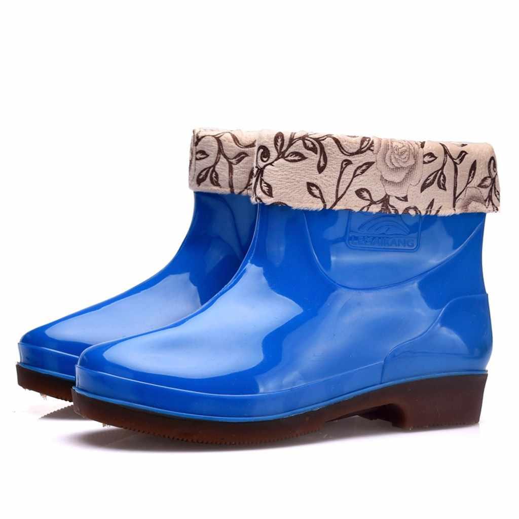 Su geçirmez yağmur çizmeleri kadınlar kalınlaşmak kapak yuvarlak ayak ayakkabı kadın kaymaz kare topuk sonbahar yarım çizmeler Zapatos de mujer