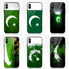 Silicone TPU Frame Tempered Glass Case Capa Cover Pakistan National Flag For Apple iPhone X XS Max XR 5 5C 5S SE 6 6S 7 8 Plus