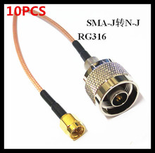лучшая цена 10PCS SMA-J to N-J radio frequency connection RG316 extension line length 20CM