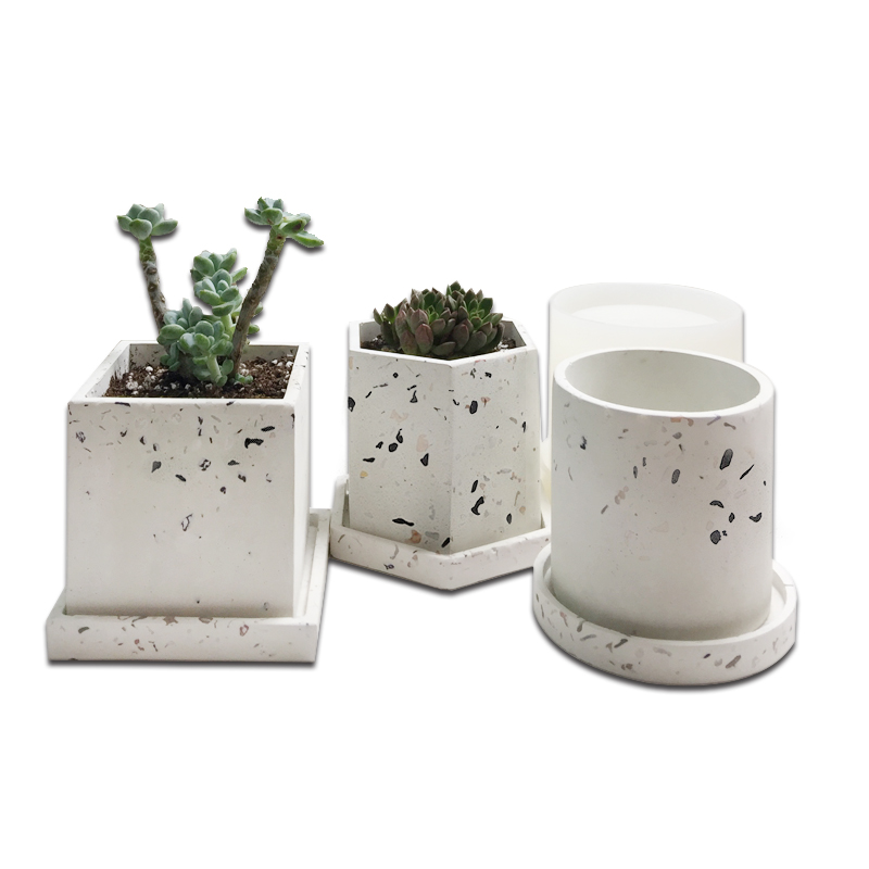 Concrete Hexagonal <font><b>Flower</b></font> Pots Silicone <font><b>Vase</b></font> <font><b>Molds</b></font> Cement Jewelry Tray Plant Pot Base Clay Gypsum Coaster <font><b>Mold</b></font> diy image