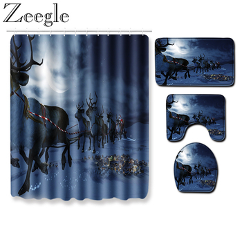 Zeegle Waterproof Shower Curtain Christmas Bath Curtain Washable Toilet Cover Mat Absorbent Bathroom Rug Set Shower Carpet
