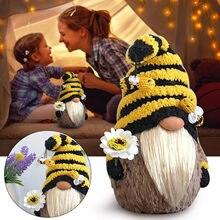 Paskalya dekorasyonu oyuncaklar Bumble Bee çizgili Gnome İskandinav Tomte Nisse İsveç bal arısı Elfs ev dekor çocuklar için oyuncak bebek oyuncak D