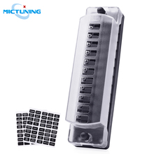 MICTUNING 12 Way DC12V-32V Automotive Blade Block Holder w/ Screw Nut Terminal Fuse Box Holder for Car Truck Vehicle Marine Boat