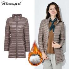 Down-Jacket Light-Weight Ultra-Light Thin Plus-Size Long Winter Women Warm