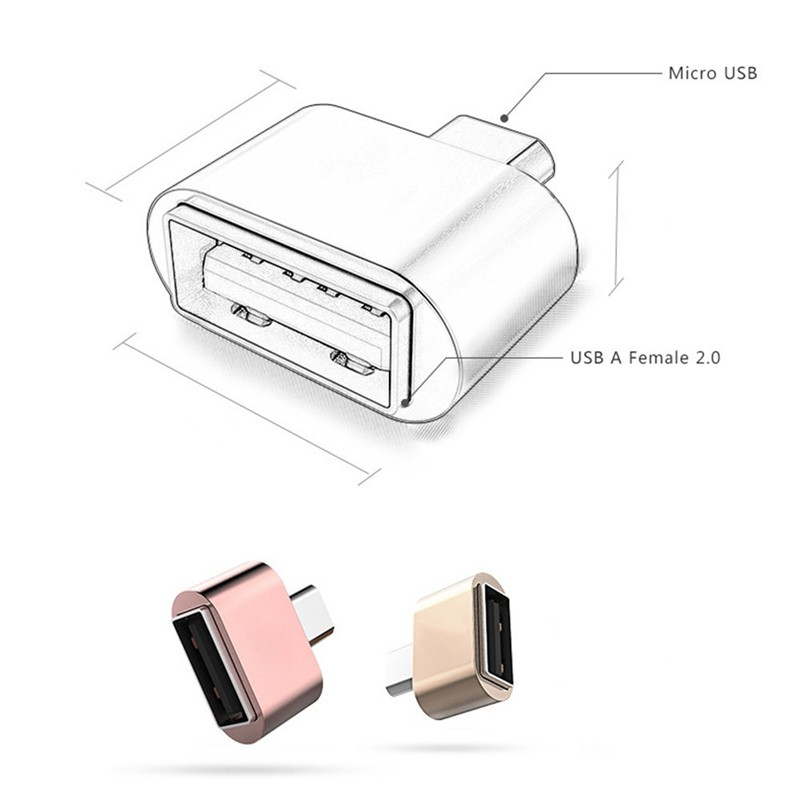 Metal V8 Port Micro USB Male To USB 2.0 Female Host OTG Adapter Converter For Samsung Huawei Oneplus Zte  Android Phone