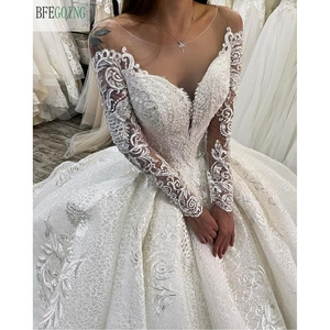 Image 3 - Ivory Lace Tulle  Beading Scoop Long Sleeves Floor Length Ball gown Wedding dress Chapel Train Custom made