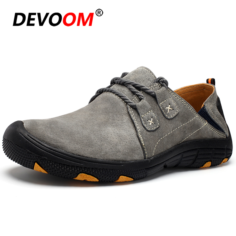 New Outdoor Hiking Shoes Men Breathable Suede Sneakers Trekking Mountain Shoes Slip On Rubber Sport Hunting Climbing Shoes Men