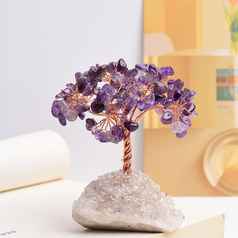 1PC Natural Stone Amethyst Rose Quartz Tree Of Life Rock Mineral Geomancy Reiki Healing Home Decor DIY Crafts Gift Decoration