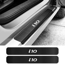 Para hyundai i10 4 pçs limiar da porta do carro placa de chinelo protetor do peitoril da porta adesivos auto decalques fibra carbono carro tuning acessórios